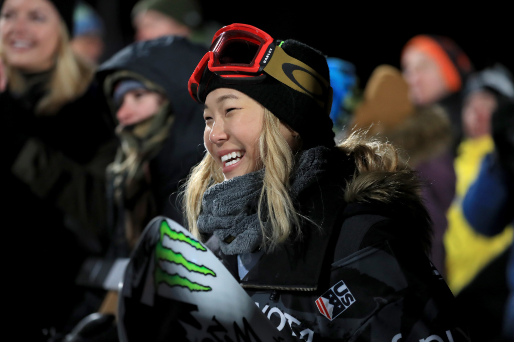 Chloe Kim looks on after finishing in second place in the final round of the Ladies' Snowboard Halfpipe during the Toyota U.S. Grand Prix on January 20, 2018 in Mammoth, California.