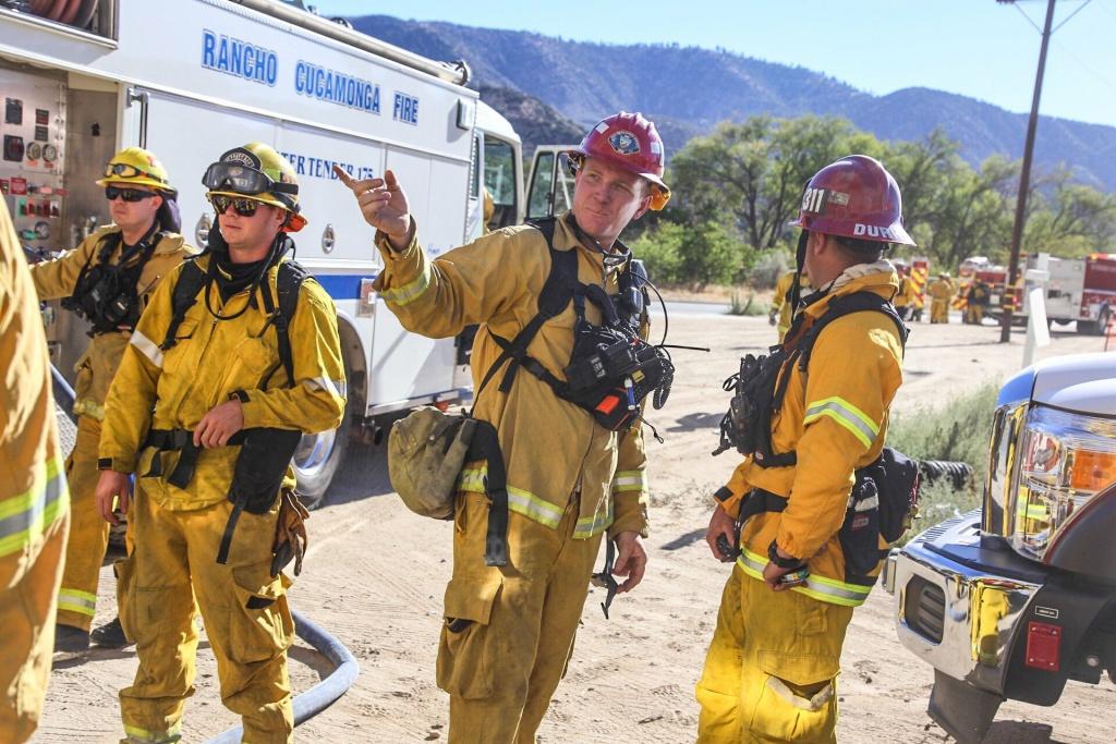 Fire fighters on the Blue Cut Fire in San Bernardino County on Aug. 16, 2016.