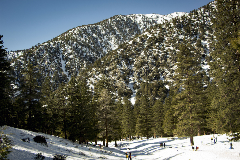 The Mt. Baldy area of the San Gabriel Mountains covered in snow.