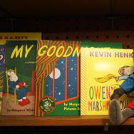 A shelf of children's books in the Lincoln Bookstore.