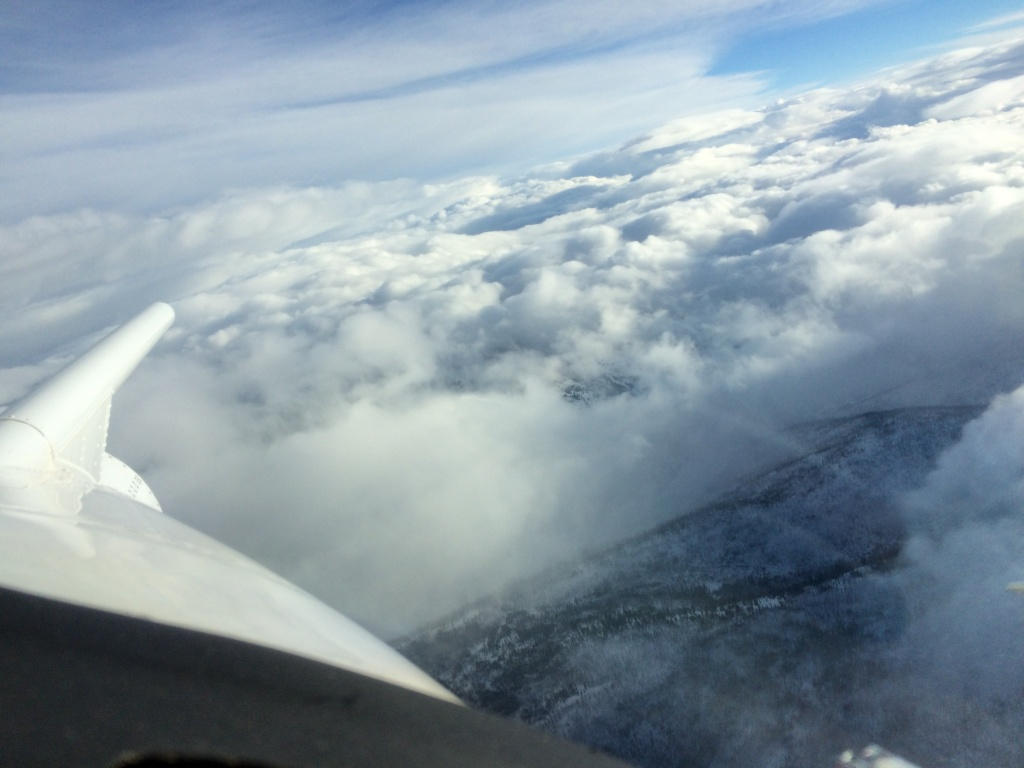 View from the cockpit of the University of Wyoming research aircraft over the Payette River Basin during the cloud seeding experiment.