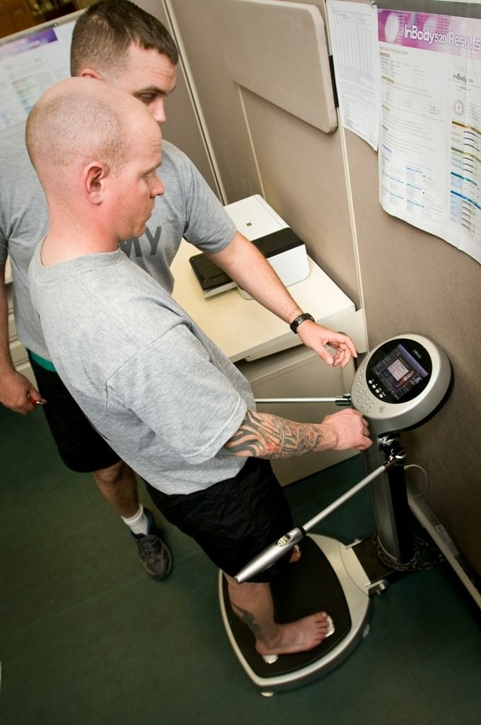 Sgt. James Whetstone, a Physical Readiness Training instructor for the Wellness Fusion Campus, receives a body composition test at Fort Bliss, Texas.
