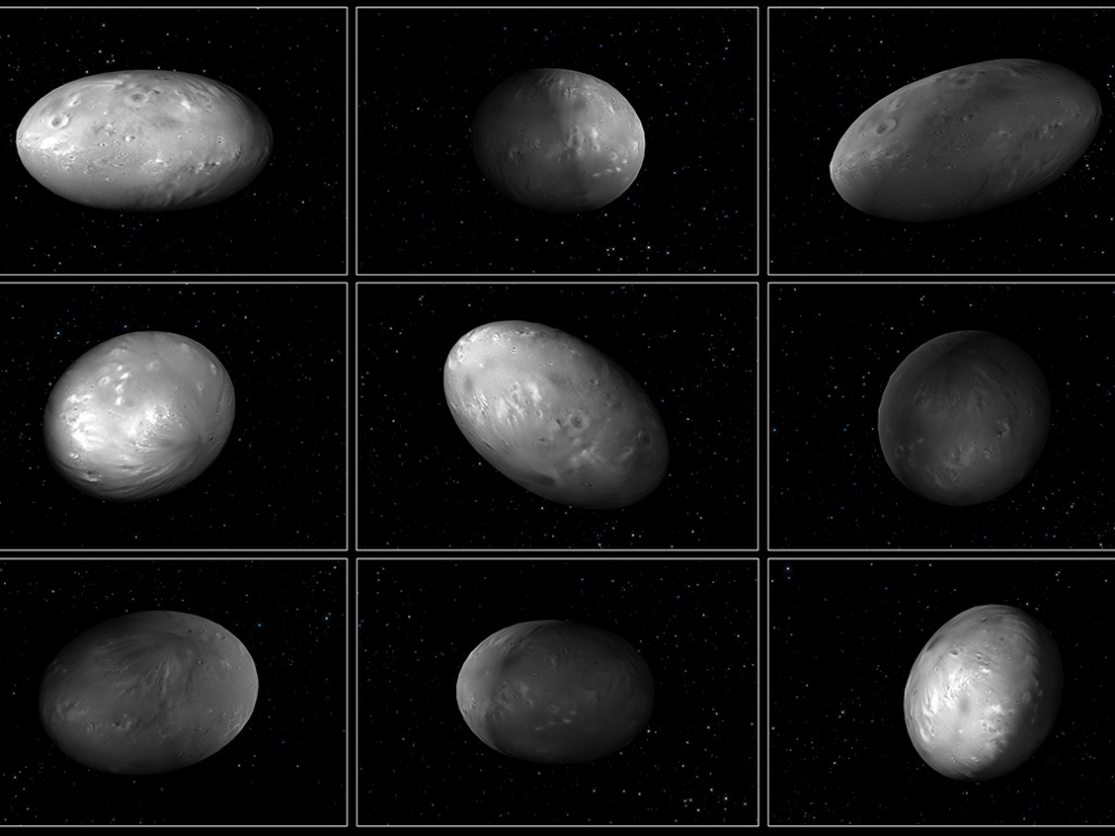 Computer modeling illustrations of Pluto's moon Nix demonstrate that its orientation changes unpredictably as it orbits the
