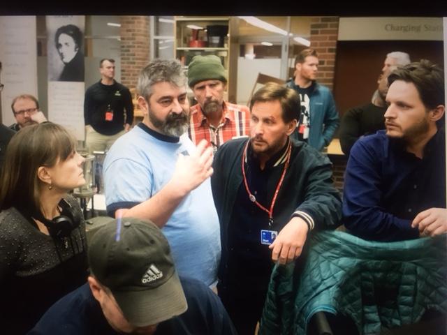 Emilio Estevez (middle) on the set of