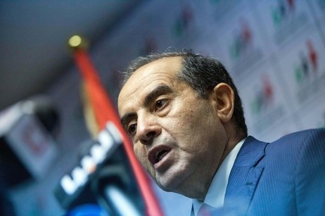 Mahmoud Jibril speaks to in Tripoli, Libya on Sunday, July 8, 2012.