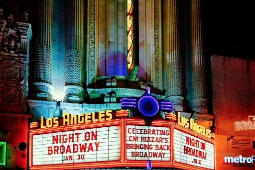 Neon at the historic Los Angeles Theater for 2016's Night on Broadway festival