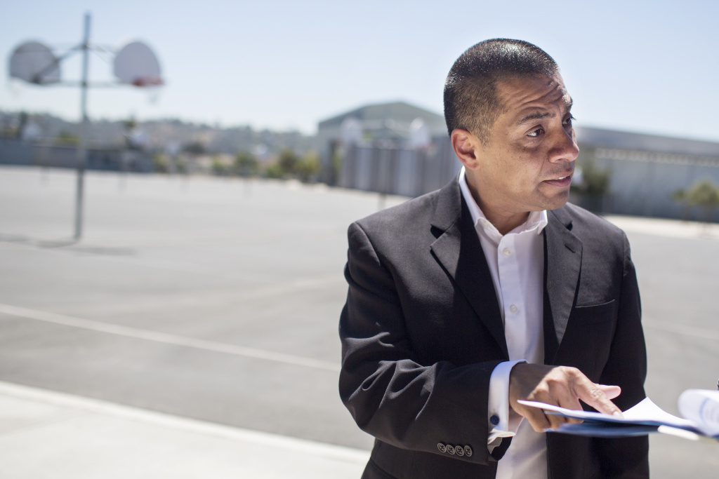 LAUSD School Board Member Dr. Ref Rodriguez visits Luther Burbank Middle School on Tuesday, Aug. 16, 2016 during the first day of instruction. Rodriguez now faces three felony charges for allegedly laundering funds from a $26,000 business investment into his campaign coffers.