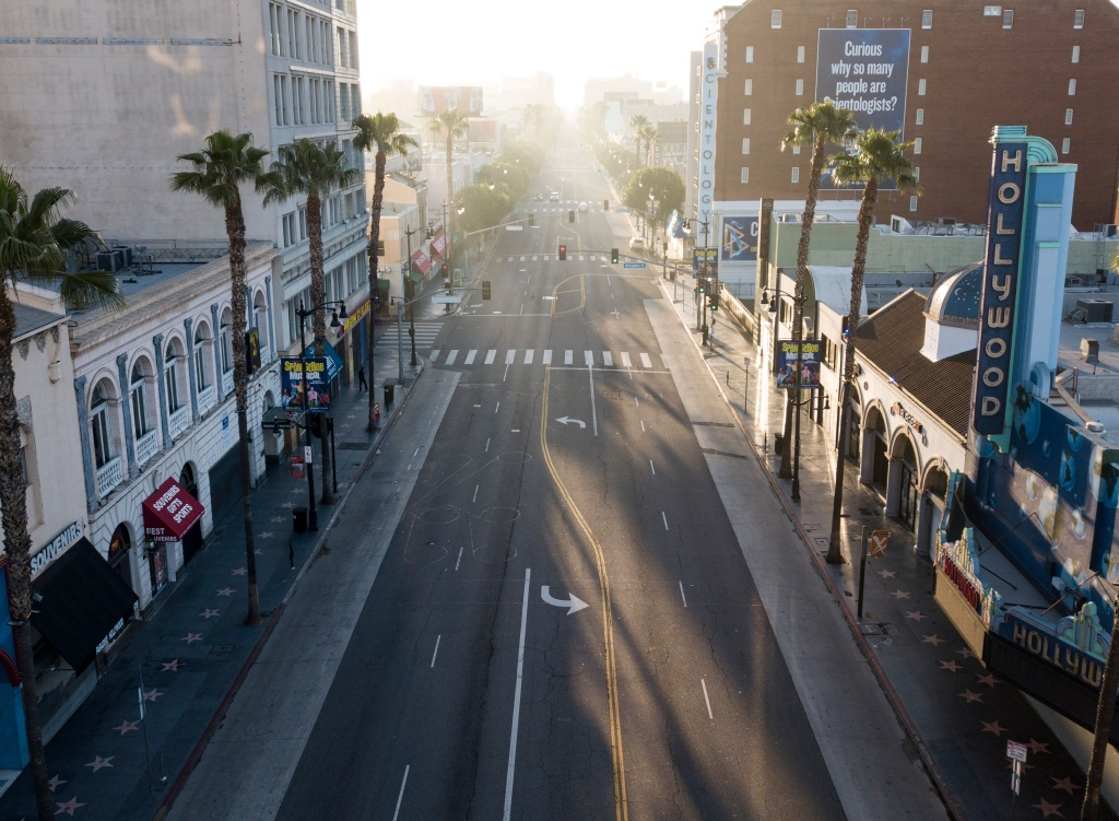 An aerial view looking east along Hollywood Blvd on April 27, 2020 in Hollywood, California during the coronavirus COVID-19 pandemic.
