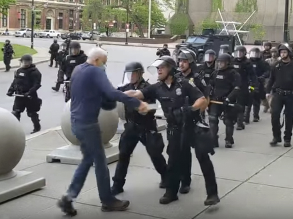 A video shows officers shoving an older man during a Black Lives Matter demonstration in June 2020 in Buffalo, N.Y.