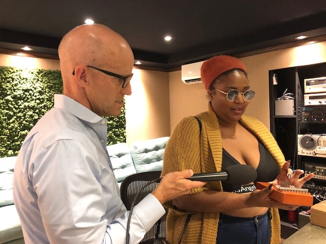 The Frame's John Horn with Lizzo in her Los Angeles studio.