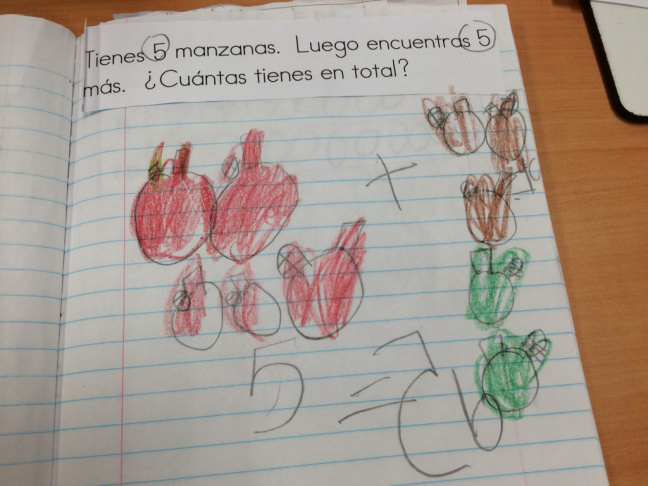Students in Diana Enciso's kindergarten class at George Brown Elementary in San Bernadino study math using word problems and art.