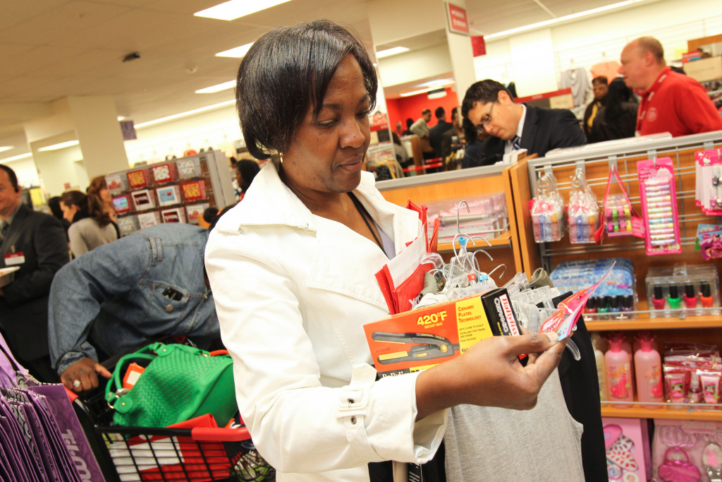 A customer shops at the opening of a TJ Maxx store on April 25, 2012 in Washington, DC.