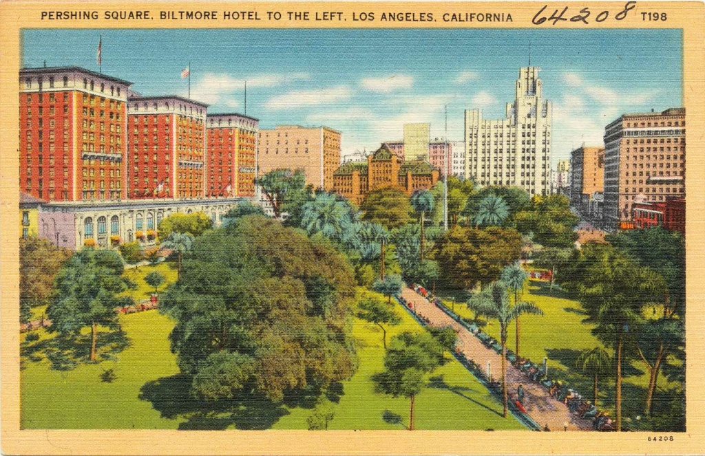 A print postcard (circa 1930 - 45) of Pershing Square with the Biltmore Hotel to the left, Los Angeles, California.