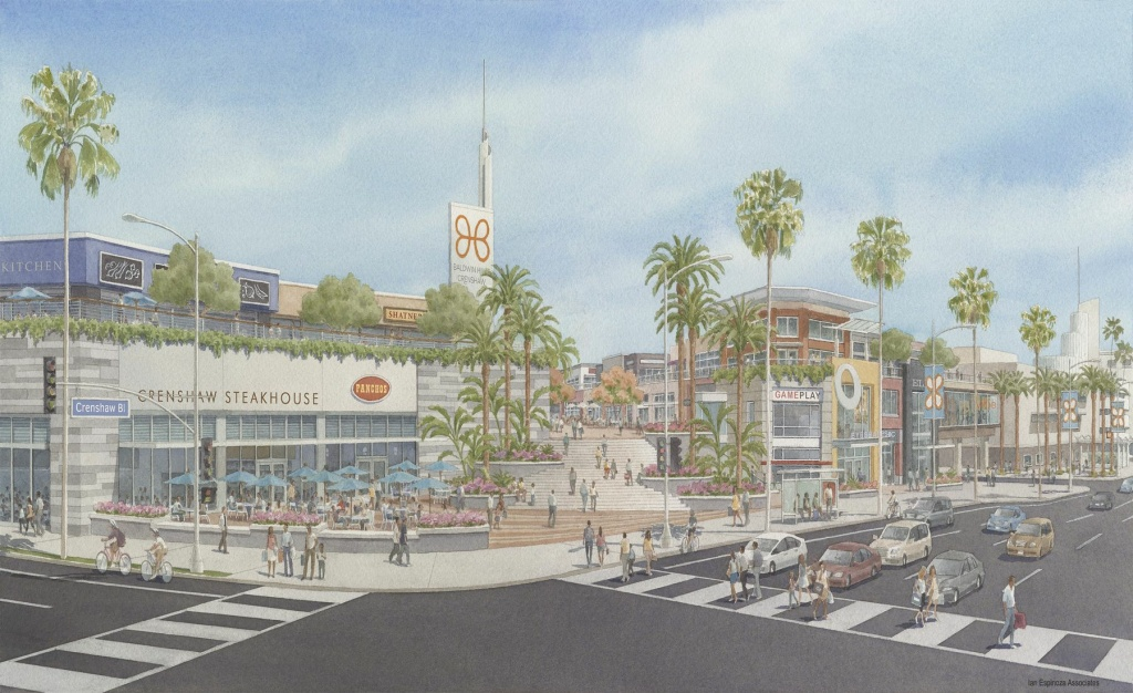 A rendering shows plans for the redevelopment of the Baldwin Hills Crenshaw Plaza mall into an upscale, outdoor Americana-style shopping center with a hotel, condominiums, apartments, dining, retail and office space.