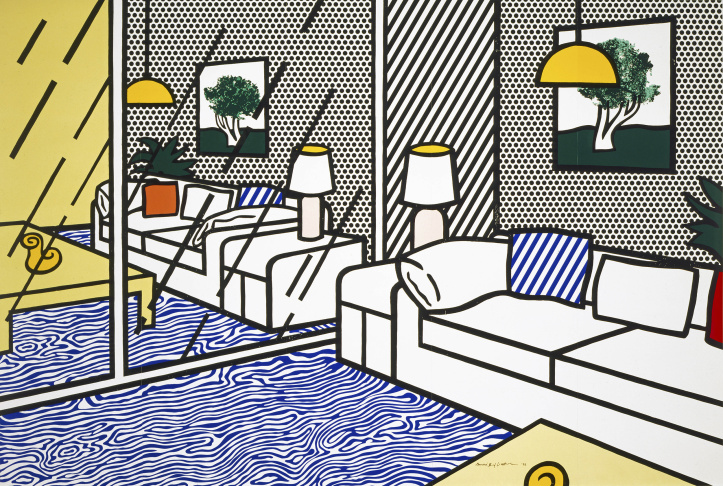 Installation view of Pop for the People: Roy Lichtenstein in L.A.; 3D recreation of Lichtenstein's Bedroom at Arles, 1992).