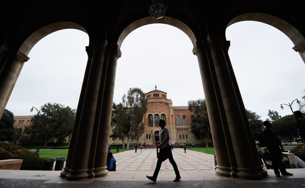 A student walks near Royce Hall on the campus of UCLA on April 23, 2012 in Los Angeles, California.