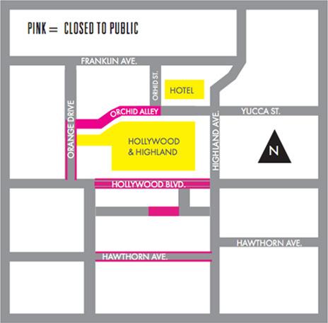 Map: Oscars street closures Feb. 15