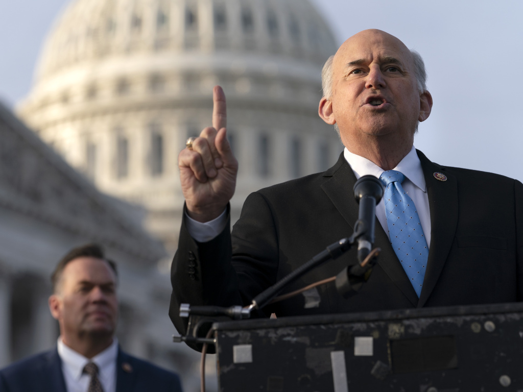 Rep. Louie Gohmert, R-Texas (right) speaks during a Dec. 3 news conference on Capitol Hill. Gohmert and other Republicans have filed suit to give Vice President Pence authority to count the votes of alternate electors.