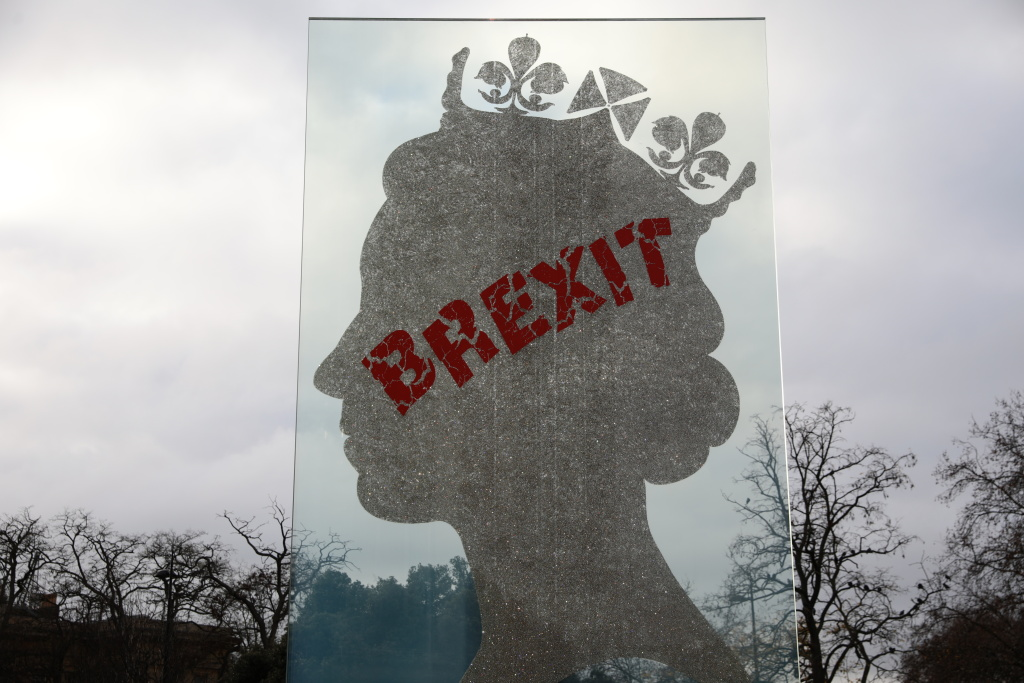 A sculpture of the Queen's head by Italian artist Matt Marga is graffitied with the word BREXIT at Hyde Park on December 10, 2018 in London, England.