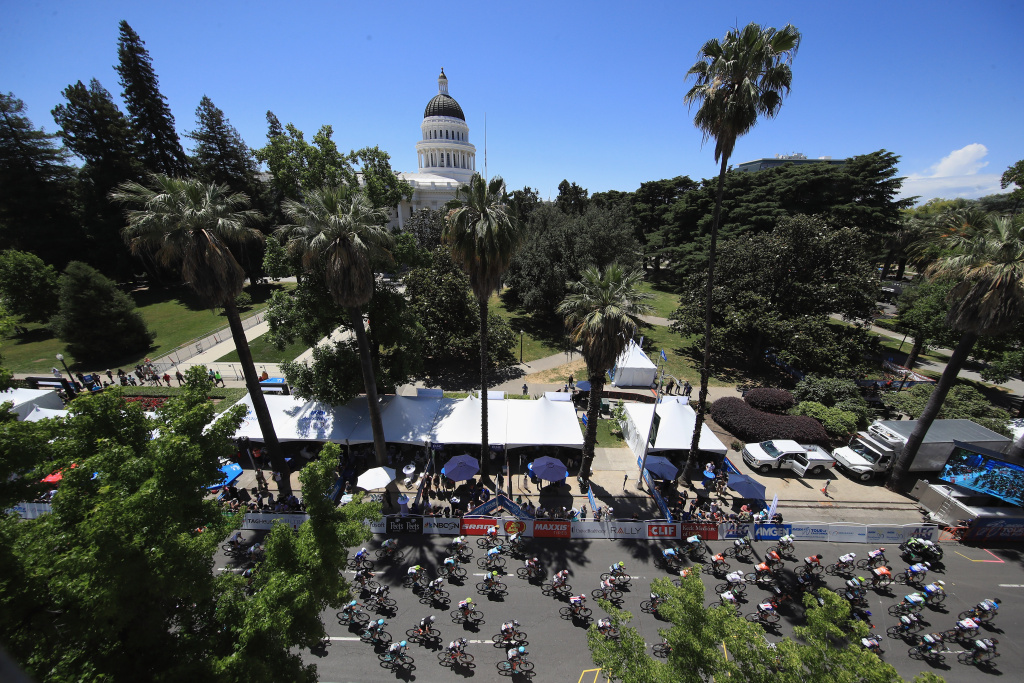 The peloton rides past the California State Capitol building during Stage 4 of the Amgen Breakaway From Heart Disease Women's Race empowered with SRAM on May 14, 2017 in Sacramento, California.