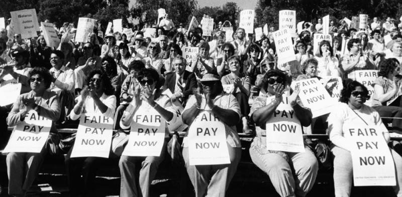 Hundreds of Los Angeles school teachers attend a strike rally this afternoon at Griffith Park. Photograph dated February 5, 1987.