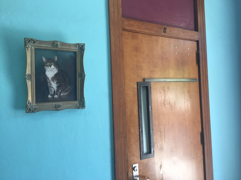 A portrait of Room 8, outside of Room 8.