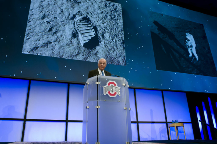 In this handout provided by NASA, Apollo 11 Astronaut Neil Armstrong speaks during a celebration dinner at Ohio State University honoring former U.S. Sen. and astronaut John Glenn's 50th anniversary of his flight aboard Friendship 7 on February 20, 2012 in Columbus, Ohio.