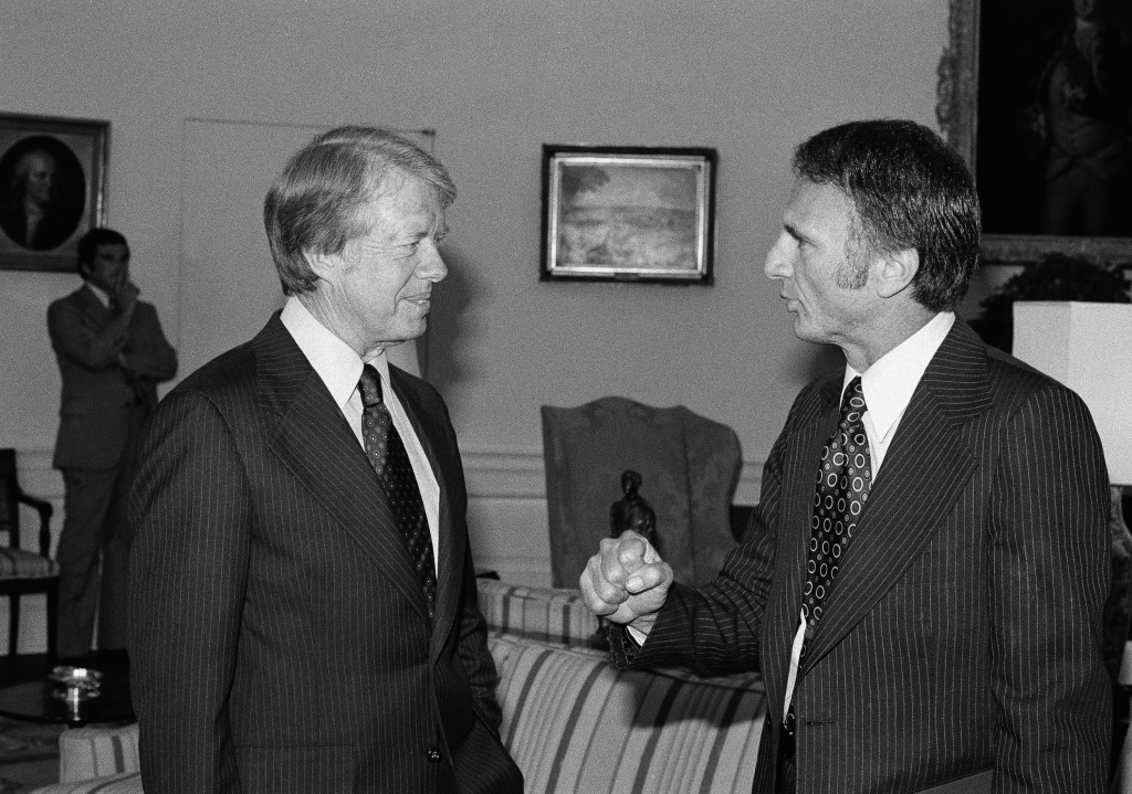 Jimmy Carter (left) with Edmund Edelman (right)