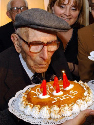 Joan Riudavets Moll celebrating his 114 birthday. Moll, thought to be the oldest man in the world died at the age of 114 in 2004.