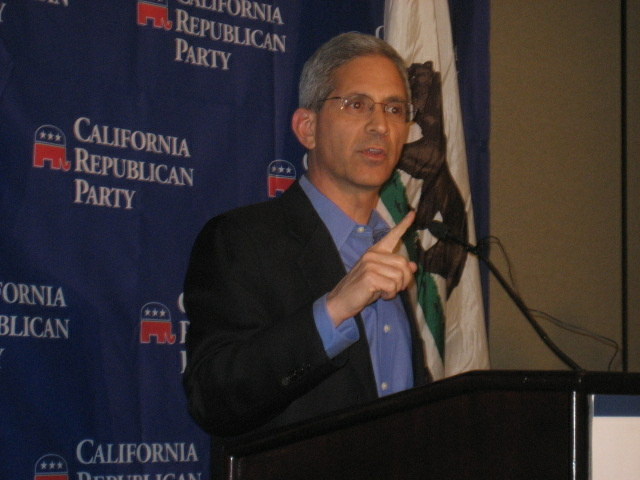 Steve Poizner speaks with reporters at the state GOP convention in Santa Clara, Calif., March 12, 2010.