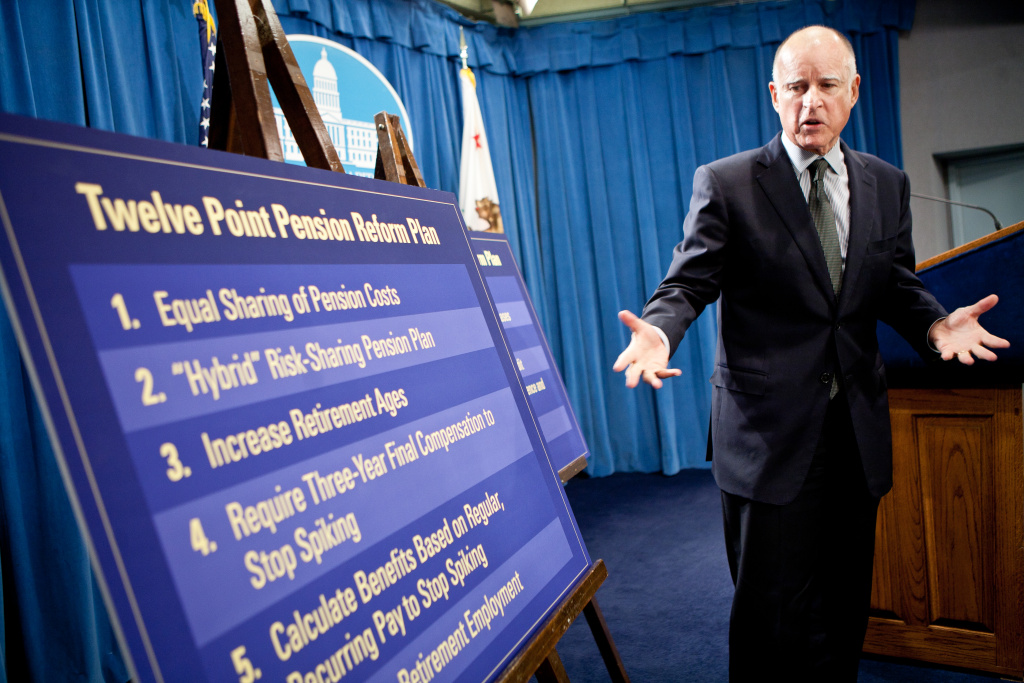 California Governor Jerry Brown announces his public employee pension reform plan Oct. 27, 2011, at the State Capitol in Sacramento, Calif. The Legislative Analyst's Office has given his proposal mixed reviews.
