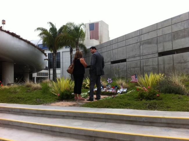 A memorial to Victoria Hen, who died in the July 4, 2002 shooting at the El Al ticket counter at LAX sits in a grassy patch outside the international terminal.
