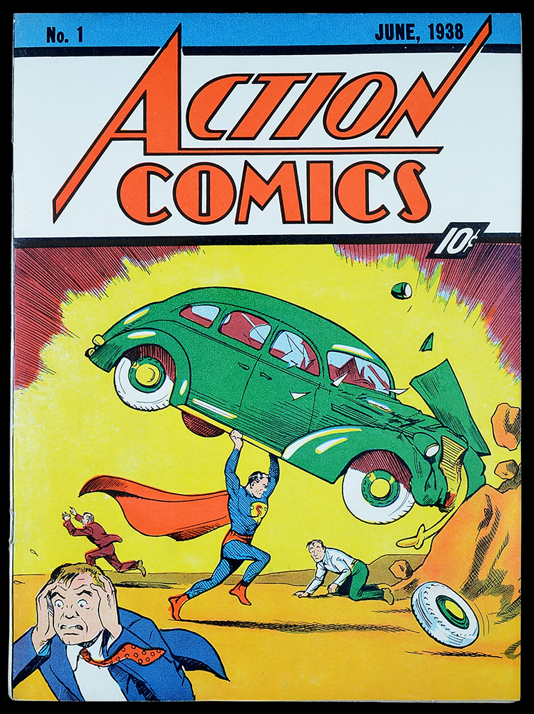 The cover of a near-mint copy of Action Comics #1, the first appearance of Superman.