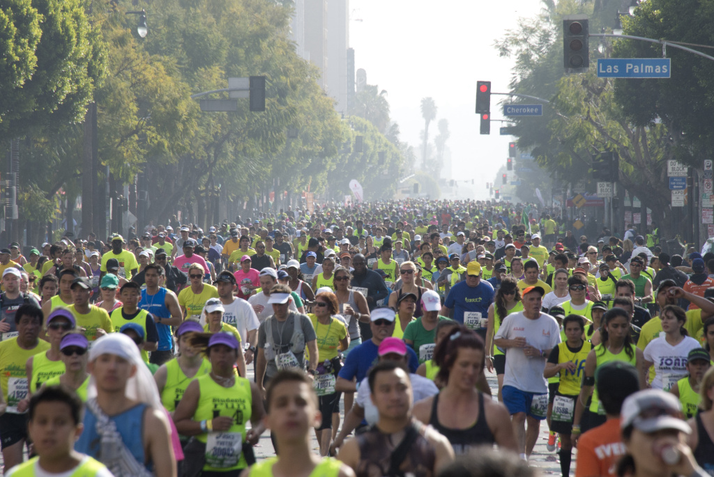 File: Some of the participants running down Hollywood boulevard during the annual Asics L.A. Marathon on March 17, 2013 in Hollywood , California. The marathon, attended by over 24 thousand participants, started at Dodger's stadium in Los Angeles and finished in Santa Monica pier.