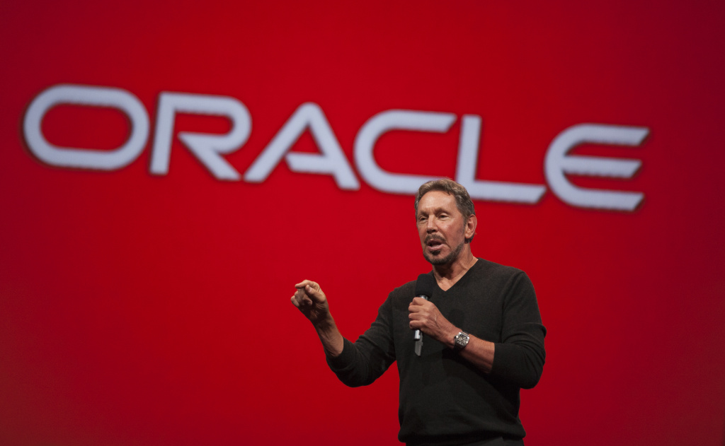 Oracle Executive Chairman of the Board and Chief Technology Officer, Larry Ellison, delivers a keynote address during the 2014 Oracle Open World conference on September 28, 2014 in San Francisco, California. According to the