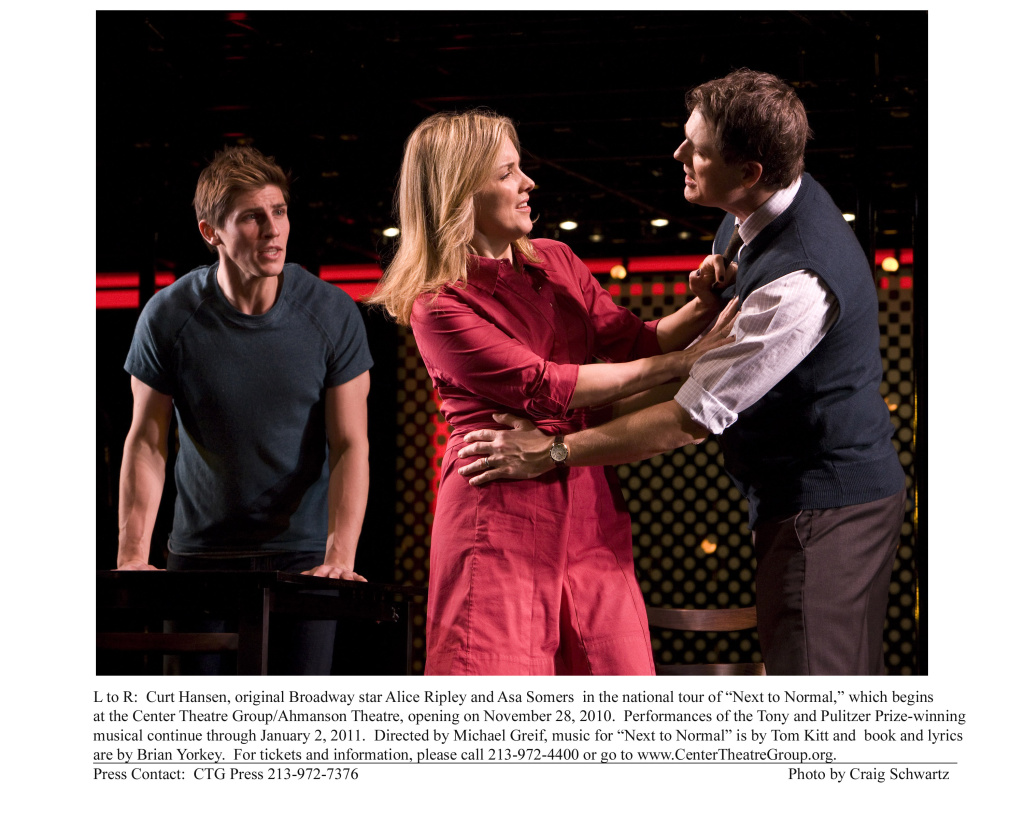 "L to R: Curt Hansen, original Broadway star Alice Ripley and Asa Somers, in the national tour of ""Next to Normal."""