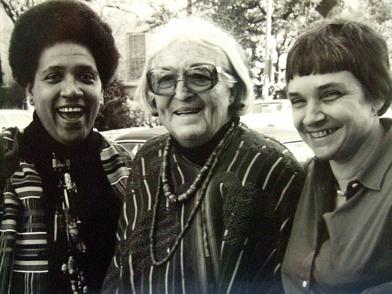 (L-R) Audre Lorde, Meridel Lesueur, and Adrienne Rich at a writers workshop in Austin, Texas, in 1980.