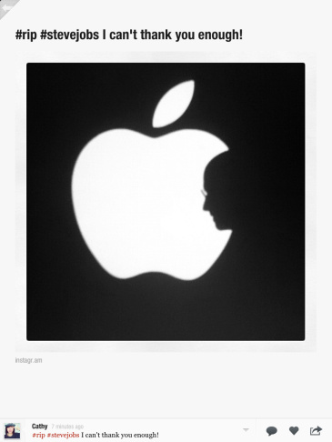 Apple's website captured here in an Instagram photo by KPCC was one of many images that flooded the Web in remembrance of Apple's founder. Click through the slide show to see more.