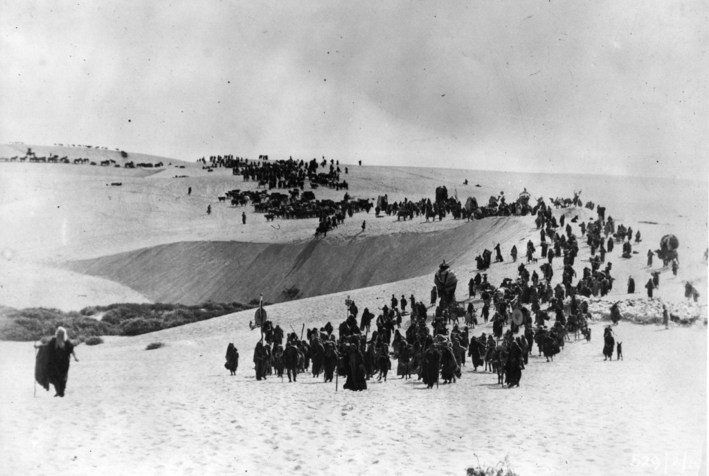 The exodus of the Israelites from Egypt through the desert, a scene from the 1923 silent film version of 'The Ten Commandments', directed by Cecil B DeMille.