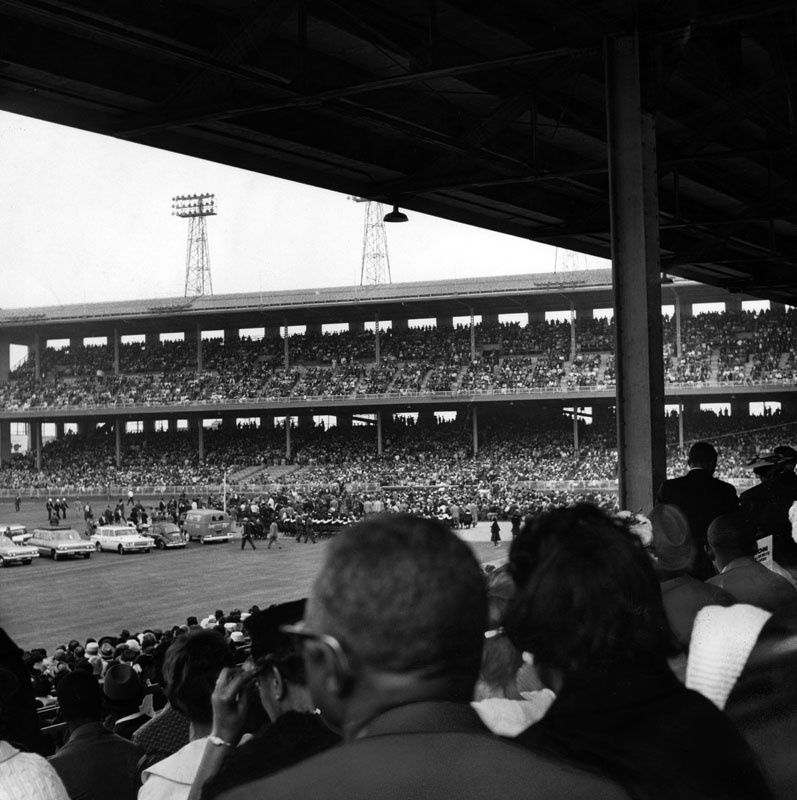 A crowd of more than 35,000 jammed Wrigley Field for a freedom rally on May 26, 1963, at which Dr. Martin Luther King, Jr. told the audience,