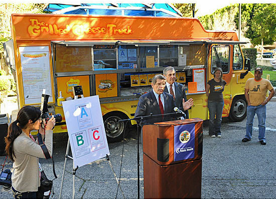 Former L.A. County Supervisor Zev Yaroslavsky announces letter grading for health inspections of food trucks in February 2011.