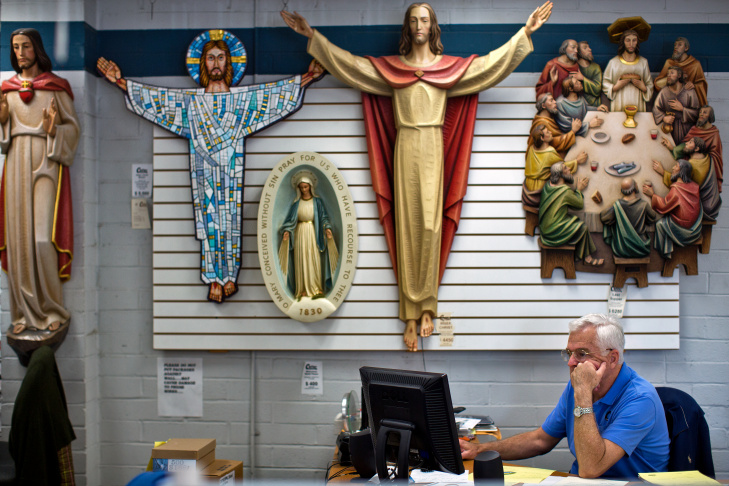 A portrait of Pope Francis is for sale at Cotter Church Supplies Inc. in Westlake on Wednesday, March 12, 2014. Many local churches buy the large portraits to display in their lobbies.