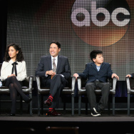 (L-R) Actors Constance Wu, Randall Park, Hudson Yang, Forrest Wheeler and Ian Chen speak onstage during the 'Fresh Off the Boat' panel at the 2015 Winter Television Critics Association press tour.