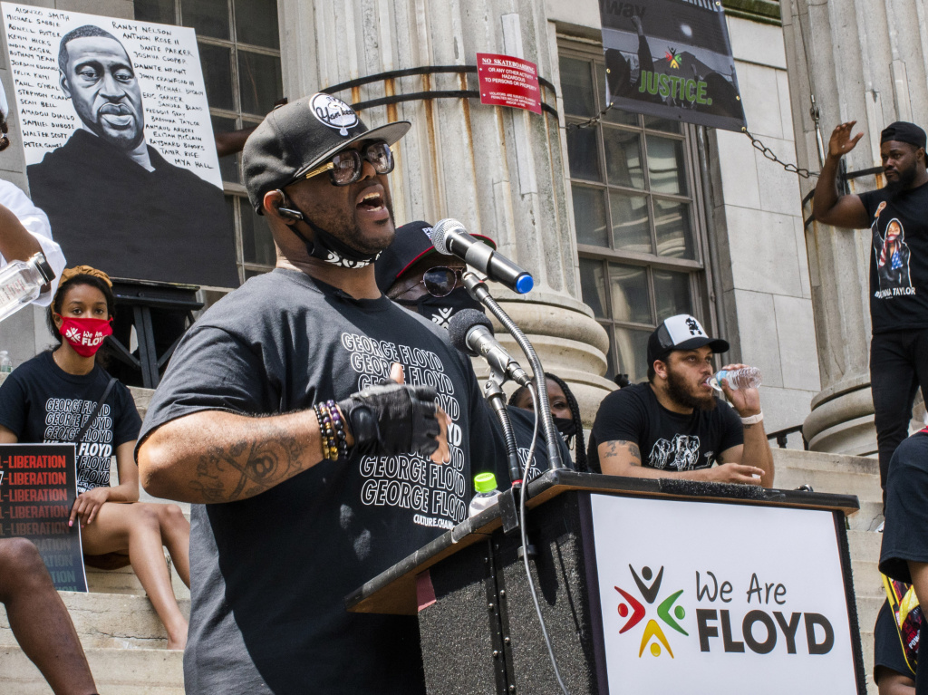 Terrence Floyd, brother of George Floyd, speaks during a rally on Sunday, in Brooklyn borough of New York.
