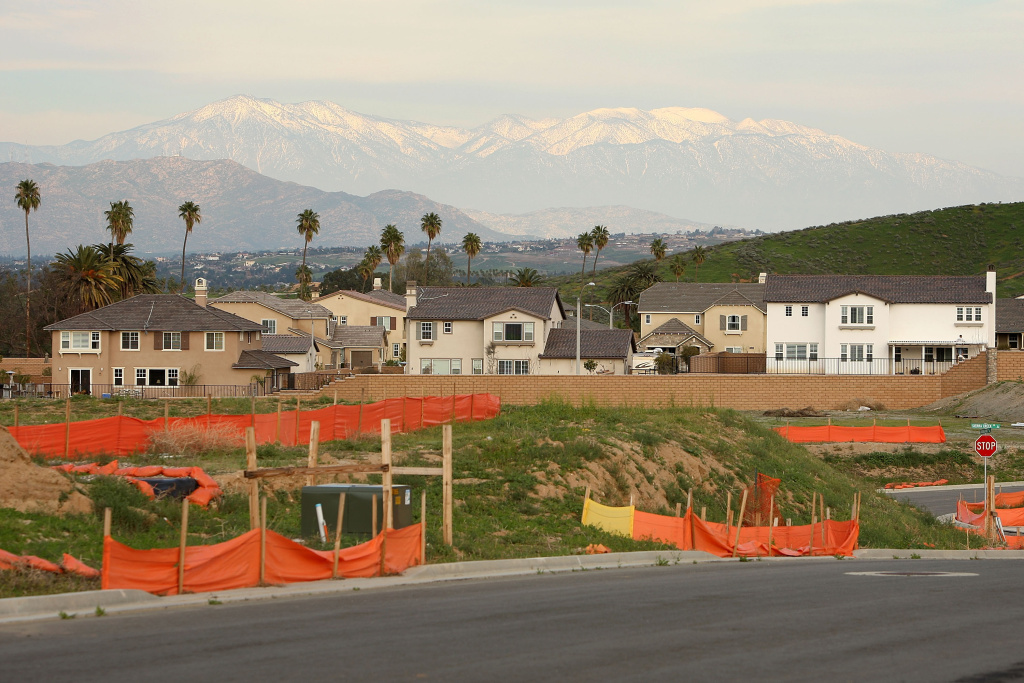 A home construction site of single family homes stands idled  February 24, 2009 near Riverside, California.