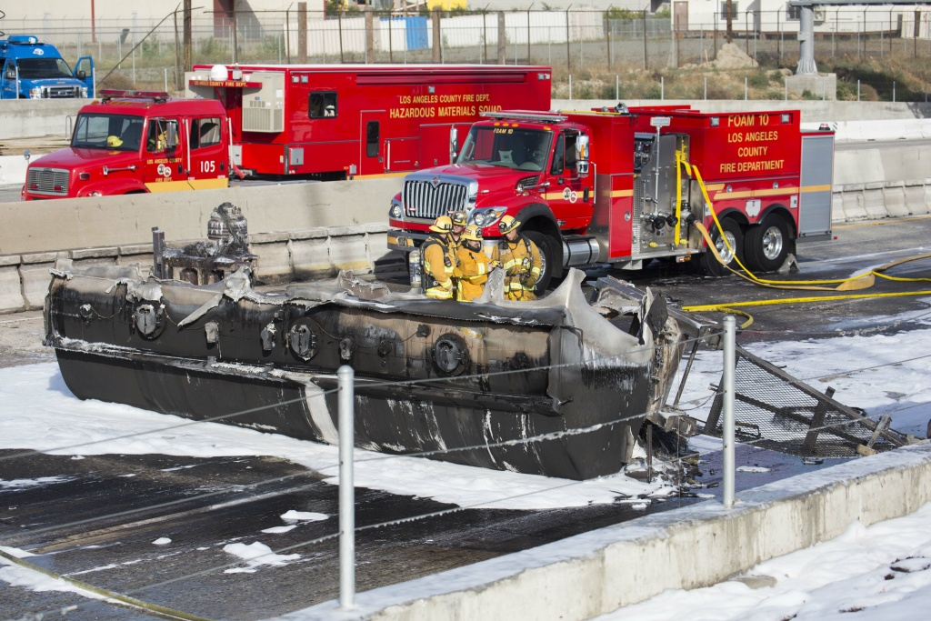 Clean Up Of 710 Freeway Continues After Tanker Truck Crash