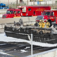 Tanker truck overturns, burns on 710 Freeway
