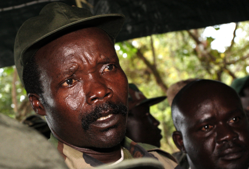 In this Nov. 2006 file photo, the leader of the Lord's Resistance Army, Joseph Kony answers journalists' questions following a meeting with UN humanitarian chief Jan Egeland at Ri-Kwamba in southern Sudan.