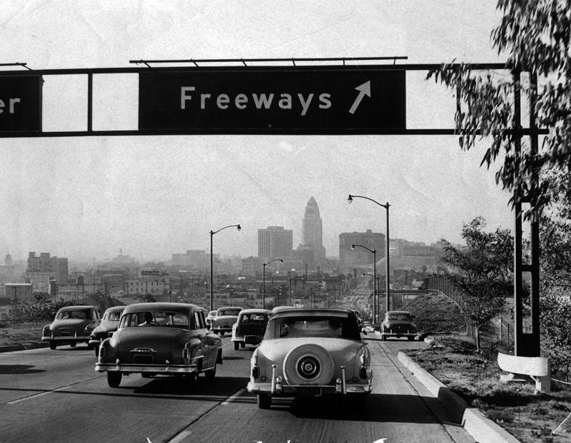 The Arroyo Seco Parkway, inbound into Los Angeles, on November 6, 1954.