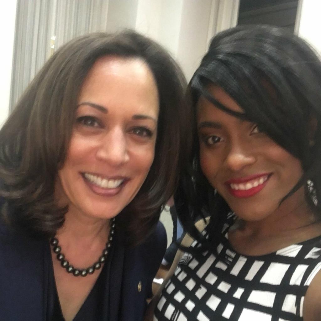 California Senator Kamala Harris and her guest to the State of the Union, Denea Joseph.